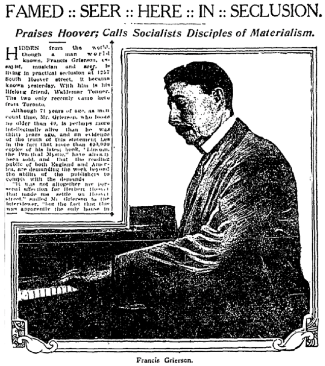 A profile on Grierson, L.A. Times, March 8, 1920.