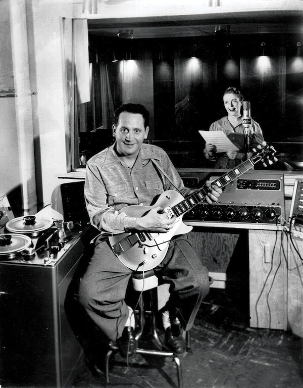 Les Paul and Mary Ford, in the studio