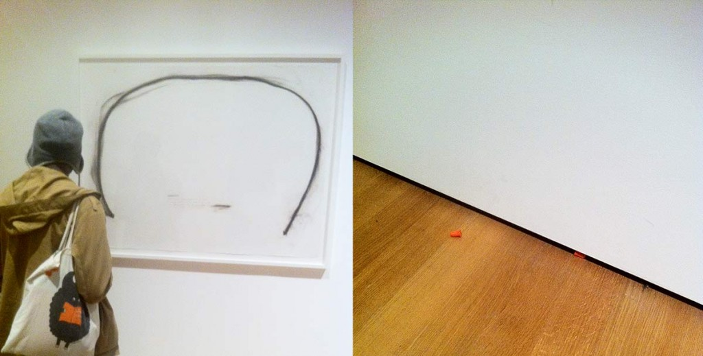 Christine Sun Kim. All. Day. 2012. Score, ink, pastel, and charcoal on paper (left).  Discarded earplugs below drawing (right)